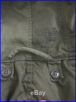 Vintage M-1951 Korean War Era Army Fishtail Green Parka Shell M/L Coat Mod