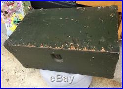 Vintage MILITARY FOOTLOCKER KOREAN WAR ERA WithShelf Opa Locka FL 1953 Strong Nice