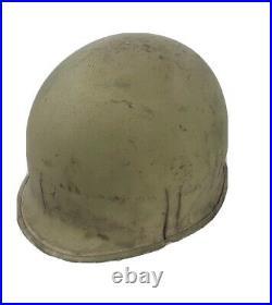 Vintage Original WW2 / Korean War US M1 GI combat HELMET swivel bale FRONT SEAM