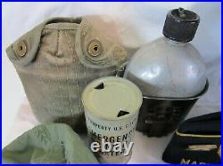 Vintage US Army Korean War Vietnam Military Grouping Helmet Canteen Medic Bag
