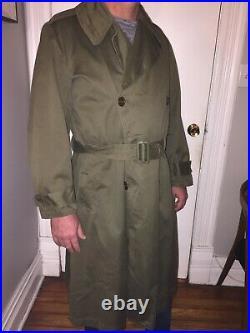 Vintage US Army Trench Field Officer Overcoat OD-7 Korean War Reg Medium 1946