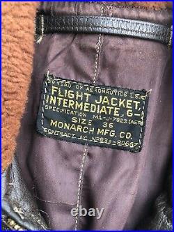 Vintage US Navy Flight Jacket Monarch Korean War N383s-80667 Size 36 MIL-J-7823