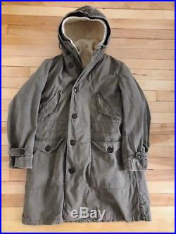 Vintage Us Army M47 M-1947 Parka Overcoat With Liner Ww2 Korean War