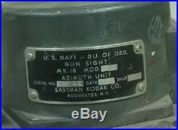 Vintage WWII/Korean War US Navy MK 18 Gun Sight Turret Azimuth/Elevation Unit