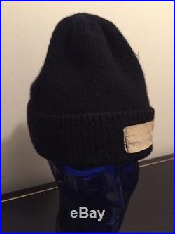 Vintage Wwii Korean War Era Us Navy Usn Dark Blue Black Wool Knit Watch Cap Hat