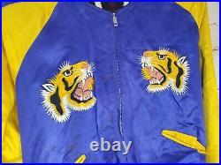 Vtg 1950s Japan Embroidered Reversible Jacket Korean War Era Tiger