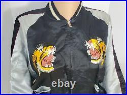 Vtg 1950s Japan Embroidered Reversible Jacket Korean War Era Tiger, Dragon