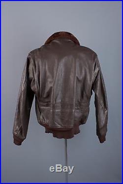 Vtg 1950s Korean War Navy G-1 Goatskin Leather Flight Jacket sz L 44 50s #1436