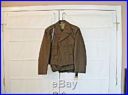 Vtg 1951 US Army Uniform IKE Jacket Pants Belt Brass Buckle Korean War Military