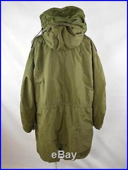 Vtg 1953 US ARMY Korean War M-1951 Fishtail Park Fur Hood Coat with Wool Liner M