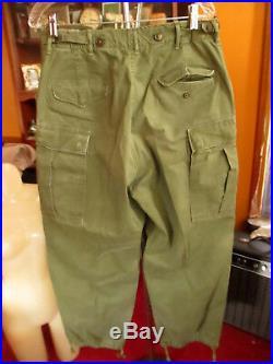 Vtg 50s KOREAN WAR M-1951 Feild Trousers Shell SMALL REGULAR 1951 32x29 FIT