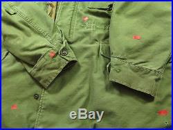 Vtg 50s Korean War M-1951 FIELD JACKET COAT L L US Military Olive Green HOODED