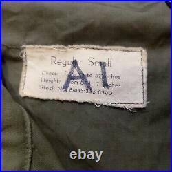 Vtg 50s Korean War M-51 US Army Military Field Coat Jacket Named Sz Small NICE