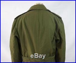 Vtg KOREAN WAR Green 1953 OG 107 Field Coat Trench Jacket with Wool Liner M Long