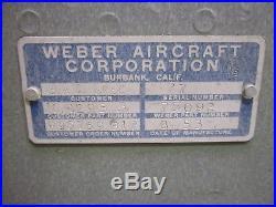Vtg Korean War 1953 Weber Aircraft #78092 Flight Ejection Pilot Seat BAC Boeing