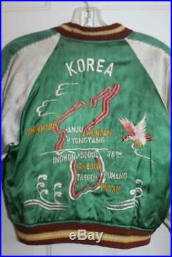 Vtg Korean War Embroidered Map/Dragon/Bird JAPAN/KOREA Reversible Silk JACKET