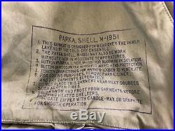 Vtg M-1951 Korean War Fishtail Parka Wool Liner Wolf Fur Hood M51 X-large