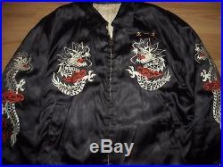 Vtg Men 50s Korean War Souvenir Embroidered Dragon Flight Bomber Military Jacket