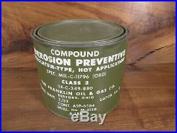 Vtg Military Cosmoline Corrosion Preventive mil-c-11796 class 3 Korean War Era
