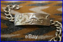 Vtg Post WWII Korean War USMC Dragon Tientsin China Theater Made Silver Bracelet