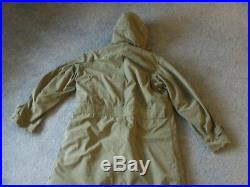Vtg US Army Cold Weather Hooded Trench Coat Jacket Wool Liner Korean war