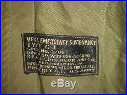 Vtg WW2 US USAAF Army Air Force Type C-1 Survival Vest Holster 40 M Korean War