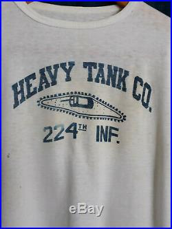Vtg WWI WWII Korean War US Army Heavy Tank CO. 224th Inf Infantry PT T-shirt