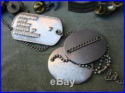 Vtg WWII, Korean War USMC EGA, Dog Tag ID, Officer & NCO Rank Pins Insignia LOT