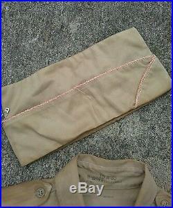 Vtg wwii usmc 8th Army military khaki shirt patch uniform cap hat Korean War