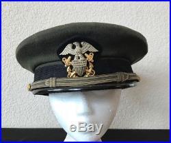 WW II Korean War U. S. Navy Naval Officer Aviator Hat Cap Air Corp Green 7 1/8