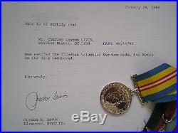 WW2 Korean War & Long Service Medal Group & Service Effects to DAVIS, RCASC