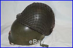 WW2 Korean War M1 Helmet Front Seam Fixed Bales Liner Chinstrap