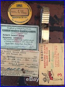 WW2 Korean War Marine Purple Heart Certificate, USMC Uniform, ID Card, Photos