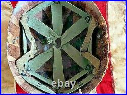 WW2/Korean War US 101st Airborne Rear Seam Swivel Bale M1 Helmet withLiner. Orig