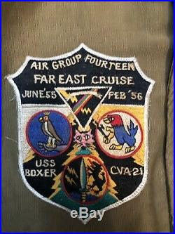 WW2 Korean War USN N-1 Deck Jacket Rare USS Boxer CVA-21 Size 42 Patch
