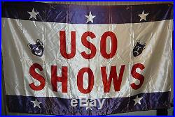 WW2 Korean war USO Shows 59x 39 Satin Banner Flag Rare Americana US Military