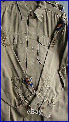 WW2/Korean war era USAAF officer uniform shirts, khaki, size medium, all wool