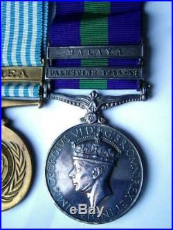 WW2 UN Korean War General Service Malaya Palestine medals Gnnr Barnes Ryl Arty