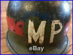 WW2 WWII Korean War MP M. P Helmet Front seemed 24th infantry division