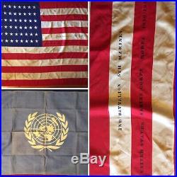 WWII 2nd BN, 5th Marines Regimental Battle Flag & UN Flag Korean War 1950-1953