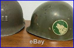 WWII / KOREAN WAR US M1 FRONT SEAM HELMET SOLDERED CAPTAIN 104th INFANTRY