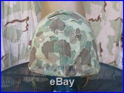 WWII, Korean War 1953 USMC M-1 Helmet with HBT Camouflage Cover, Named