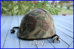 WWII Korean War Era USMC Reversible Camo M-1 Helmet Liner Great Shape Authentic