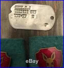 WWII Korean War Lot Trench Knife Dagger Bullion Patch Krinkle Lighter Dog Tag ID