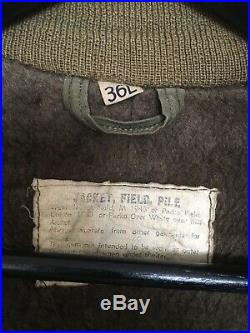 WWII Korean War M1943 Jacket Field Pile OD Liner 36L 1948