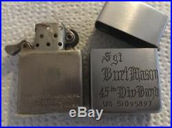 WWII Korean War Zippo Lighter Named 45th Infantry Division Band Army Piccolo