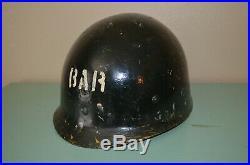 WWII USMC Fixed Bale Helmet withliner Frog CAMO Complete Korean War