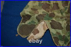 WWII USMC Frogskin Camo Helmet Cover 1953 Korean War Blue Anchor EGA Stenciled
