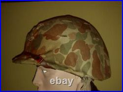 WWII WW2 USMC swivel Bale front seam helmet and liner with Korean War cover RARE