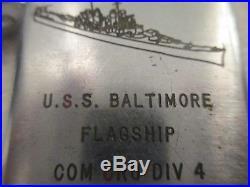 WWII World War II Korean War Era USS Baltimore Battleship Beta Lighter US Navy